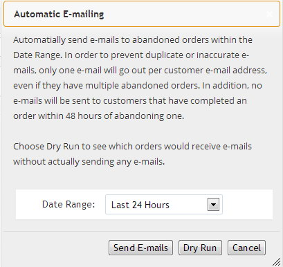 abandoned orders shopping site email
